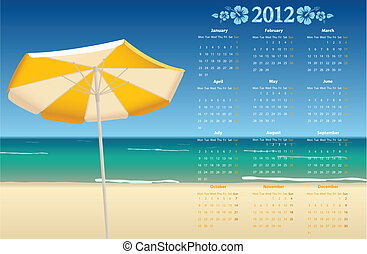 Vector calendar 2012 with beach