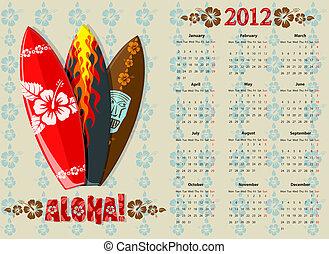 Vector Aloha surf calendar 2012
