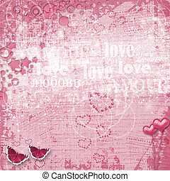 Valentines day card with hearts for congratulation to...
