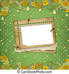 Grunge papers design in scrapbooking style with frame and bunch of flowers