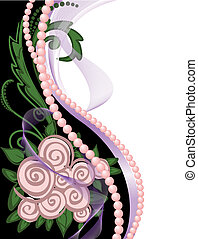 Pearls and Roses - asymmetrical black and white background...