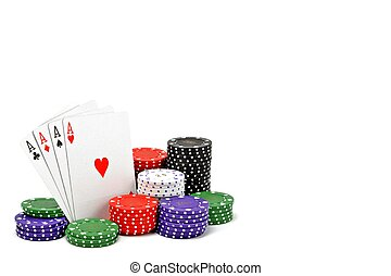 Poker chips and cards - 4 aces with a stack of poker chips...
