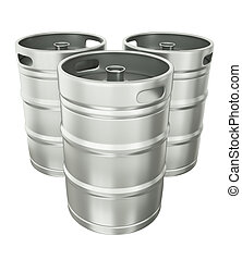 Beer kegs - Three beer kegs over white background