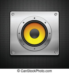 Speaker on a metallic background.