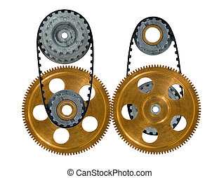 two cogwheels with gear on a white background