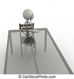 bored - 3d figure sitting bored at a table