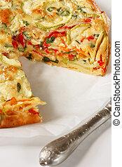 Vegetables pie close-up