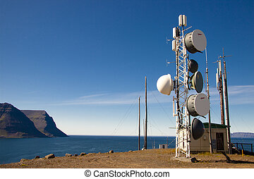 Cell antena on top of the cliff - Iceland - Cell tower on...