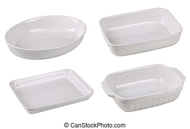 Casserole dishes - Porcelain casserole dishes isolated on...