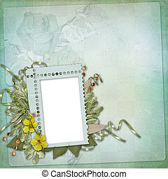 Abstract floral background with bunch of flower and frame