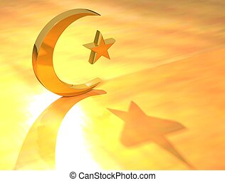 Gold Islam Sign on yellow background