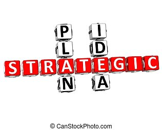 3D Strategic Plan Idea Crossword on white background
