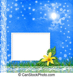 Grunge frame with bunch of flower on the blue background