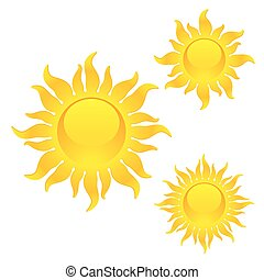 Shining sun symbols - Vector illustration of shining sun...