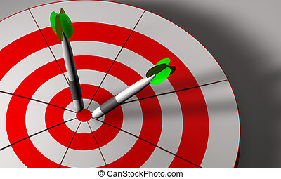 Bulls eye and darts in 3D - Bulls eye and darts in white and...