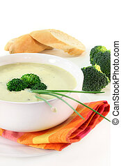 Broccoli cream soup - a cup of broccoli cream soup with...
