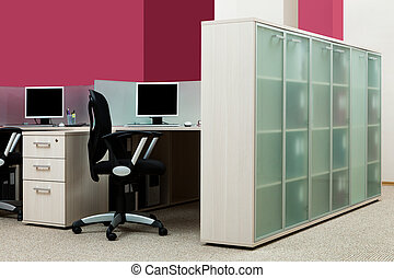 bookcase with folders in a modern office