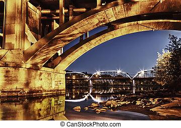 Bridges at Night - Broadway Bridge in Saskatoon, Canada lit...