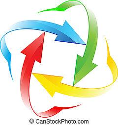 Conjunto, flecha, círculos