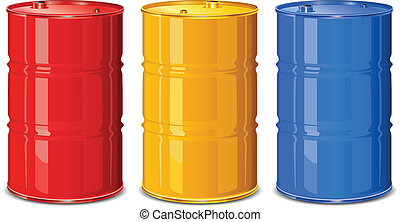Color barrels - Three color steel barrels on white...