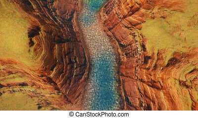 Red rock and River Camera Flying