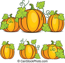 Halloween pumpkins - Yellow pumpkins witn green leaves,...