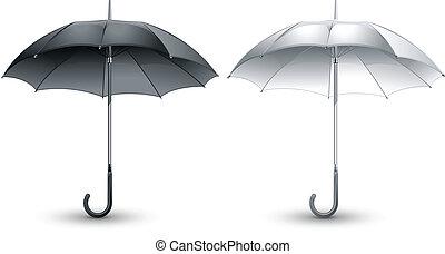 Black & white umbrellas - Open black & white umbrellas...