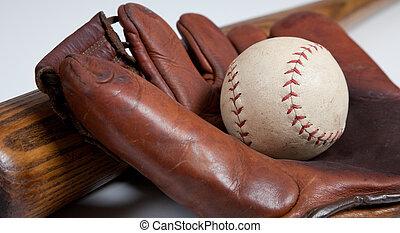 Antique baseball bat, mitt and ball - An antique baseball...