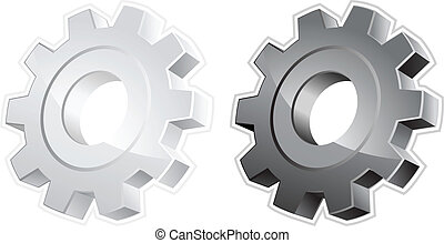 Gears - White and black gears, isolated object on white...