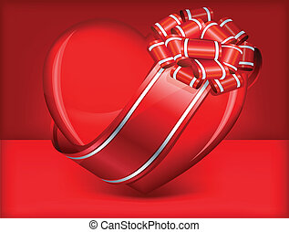 Heart with bow on red