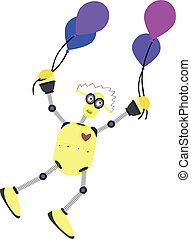 Yellow robot floating with balloons