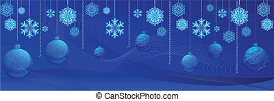 New years gorizontal background with baubles and lines,...