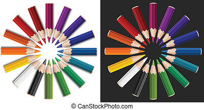 Colour pencils in circle
