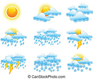 Weather icons, forecast emblems on white, vector...
