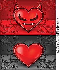 Devil face heart