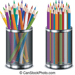 Color pencils in support