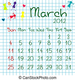Calendar for March 2012