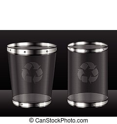 Recycle bins with emblem - Empty recycle bins with emblem...
