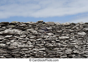Rock Wall and Sky - Handmade Rock Wall and Sky Background...