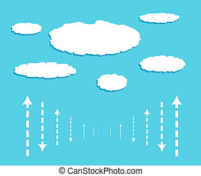 Cloud with data signals in form of arrows