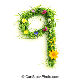 Numbers made of flowers and grass