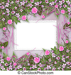 Writing abstract background with frame and floral beautiful...