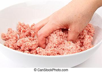 picado, carne, trabajando, mano
