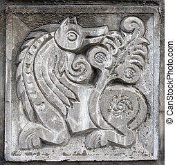 bas-relief of fairytale wolf - old bas-relief of fairytale...
