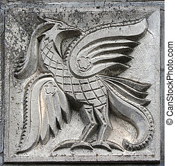 bas-relief of fairytale firebird - old bas-relief of...