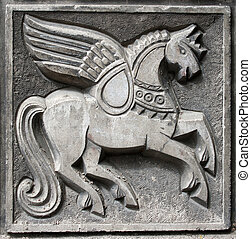 old bas-relief of fairytale winged horse - old bas-relief of...