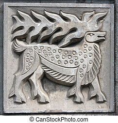old bas-relief of fairytale elk - old bas-relief of...