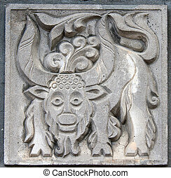 old bas-relief of fairytale ox - old bas-relief of fairytale...