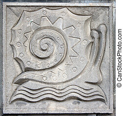 old bas-relief of fairytale snail - old bas-relief of...