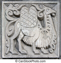 old bas-relief of fairytale camel - old bas-relief of...